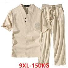 Odzież męska duży rozmiar dres mąż 2020 kostium na lato lniana koszulka moda męski zestaw w stylu chińskim 8XL 9XL plus dwuczęściowy