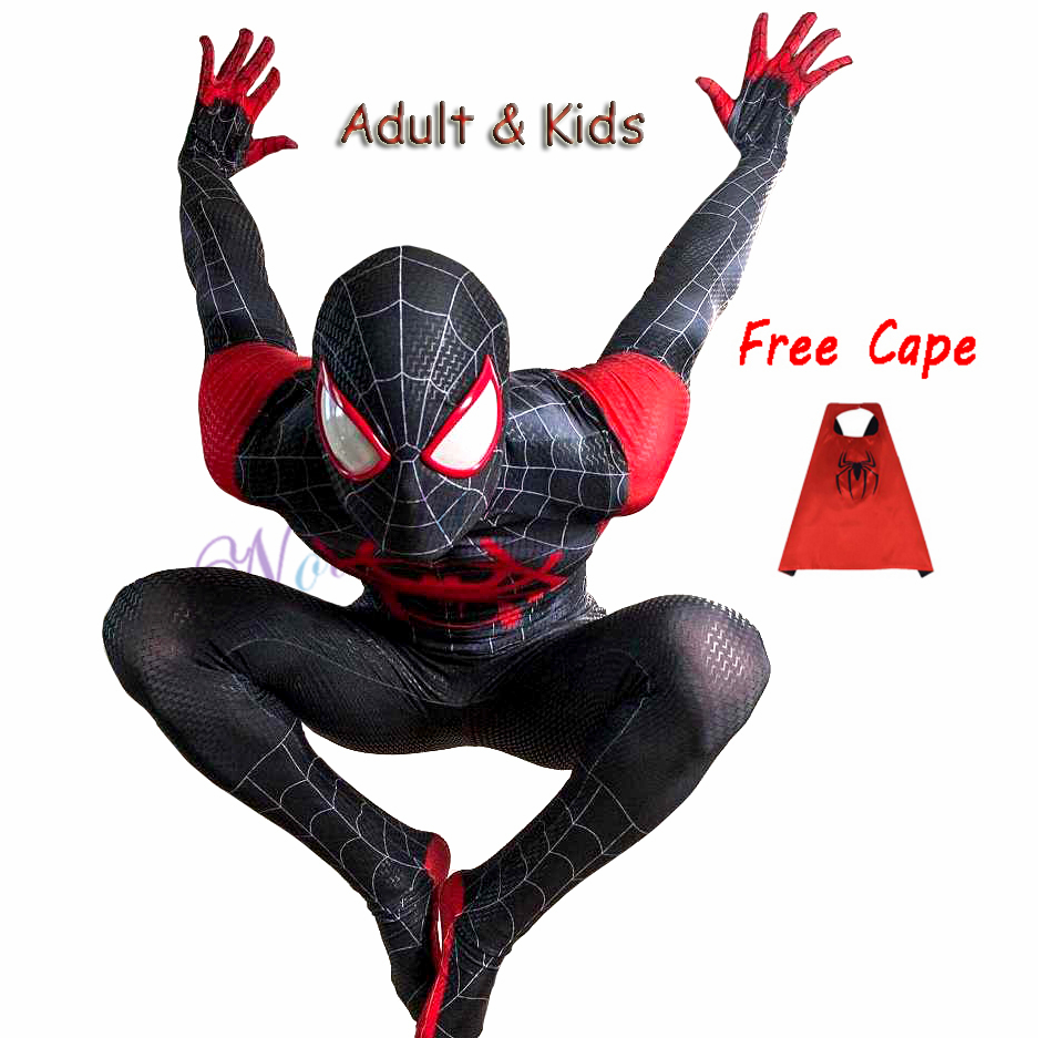 New 2019 Adult Kids Spider-Man Into The Spider-Verse Miles Morales Cosplay Costume Zentai Spiderman Black Bodysuit Suit Jumpsuit