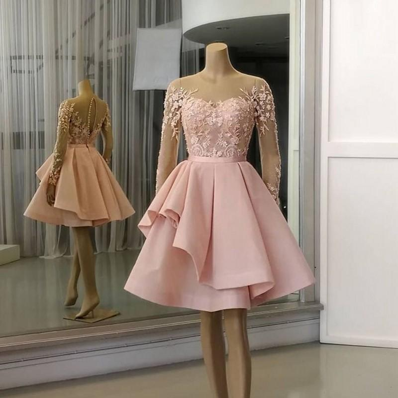 Pink Cocktail Dresses Jewel Neck Lace Appliques Formal Long Sleeve Evening Gowns A Line Arabic Prom Dress Party Wear