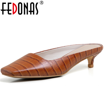 FEDONAS New Concise Elegant Fashion Solid Color Women Cow Leather Sandals Slipper Thin Heel Shoes 2020 Spring Summer Shoes Woman