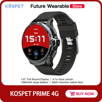 KOSPET PRIME Smart watch Phone with1.6 inch display Face ID 1260mAh Dual camera Ceramic bezel IP67 Waterproof 4G LTE 3GB+32GB