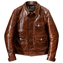 Coat Oil-Cowhide-Jacket Genuine-Leather Winter Vintage New Warm Man Classic YR Slim Casual-Style