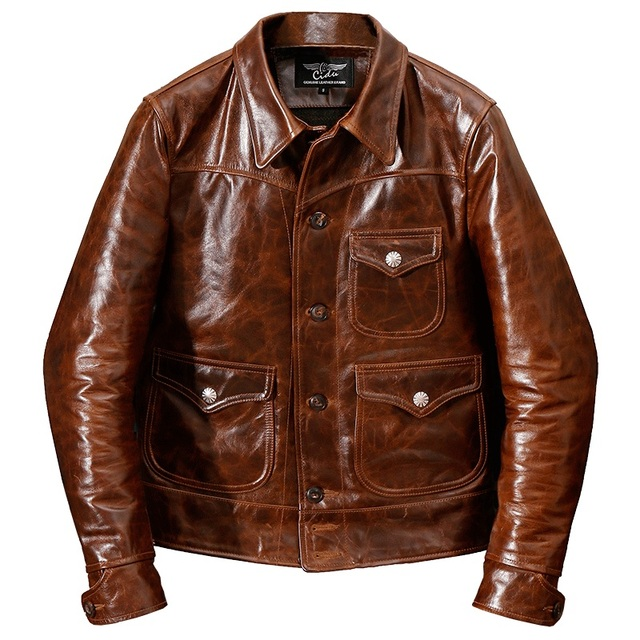 YR!Free shipping.Brand new classic casual style oil cowhide jacket,man slim oil genuine leather coat,vintage winter warm coat.RL
