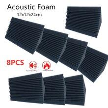 8 sztuk 12X12X24 Cm pianka akustyczna czerwony/czarny Bass pułapka absorpcja dźwięku Studio izolacja akustyczna rogu ściany okna drzwi izolacji