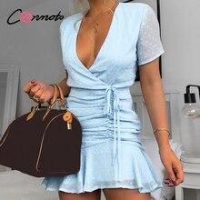 Conmoto เซ็กซี่สั้นชีฟองเดรสผู้หญิงสบายๆ Polka dot ชุดสีฟ้าชายหาดฤดูร้อน 2020 Femme Robe vestidos