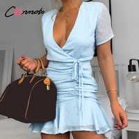 Conmoto sexy curto chiffon vestidos femininos casual bolinhas vestido azul praia verão 2020 femme robe vestido