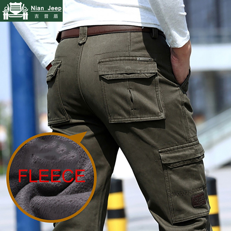 Brand Winter Fleece Cargo Pants Men Warm Military Work Mens Pants Multi-Pocket Outdoors High Quality Long Tactical Trousers Men