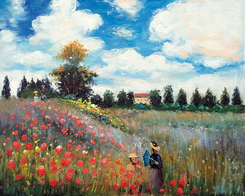 Famous Canvas Wall Oil Painting Reproduction Poppy Field in Argenteuil by Claude Monet Wall Art for Home Decor Hand Painted