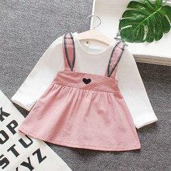 Verão recém-nascido da criança do bebê menina sem mangas dos desenhos animados coelho orelha vestido infantil roupas da menina dos miúdos vestido rosa amarelo