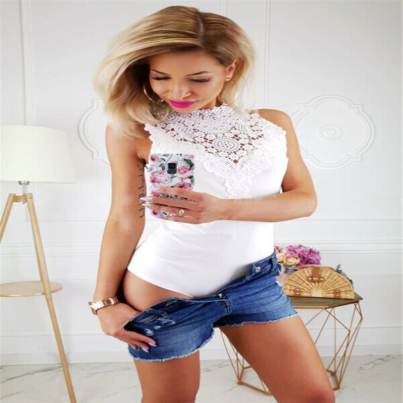 Trendy Women clothes Sleeveless Hollow out Turtle Neck Jumpsuit lace casual Leotard Polyester Bodysuit one pieces