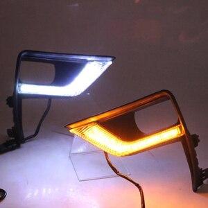 Image 3 - LED Front Fog Lamp Daytime Running Light Turning light 3 function For Toyota Land Cruiser Prado 150 FJ150 2018 2019 Accessories