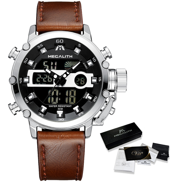 MEGALITH גברים ספורט שעון זוהר עמיד למים קוורץ שעון גברים משולב הכרונוגרף שעון יד Dropshipping סיטונאי מחיר