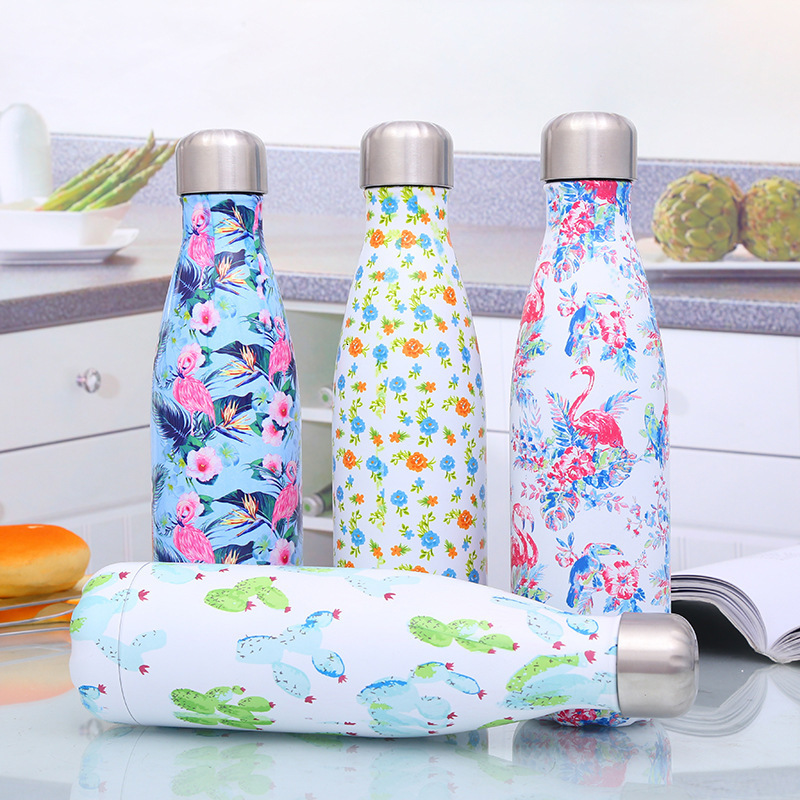 sports Flamingo Floral water bottle free stainless steel beer tea coffee thermos travel bottle sport gym drink isolated cup