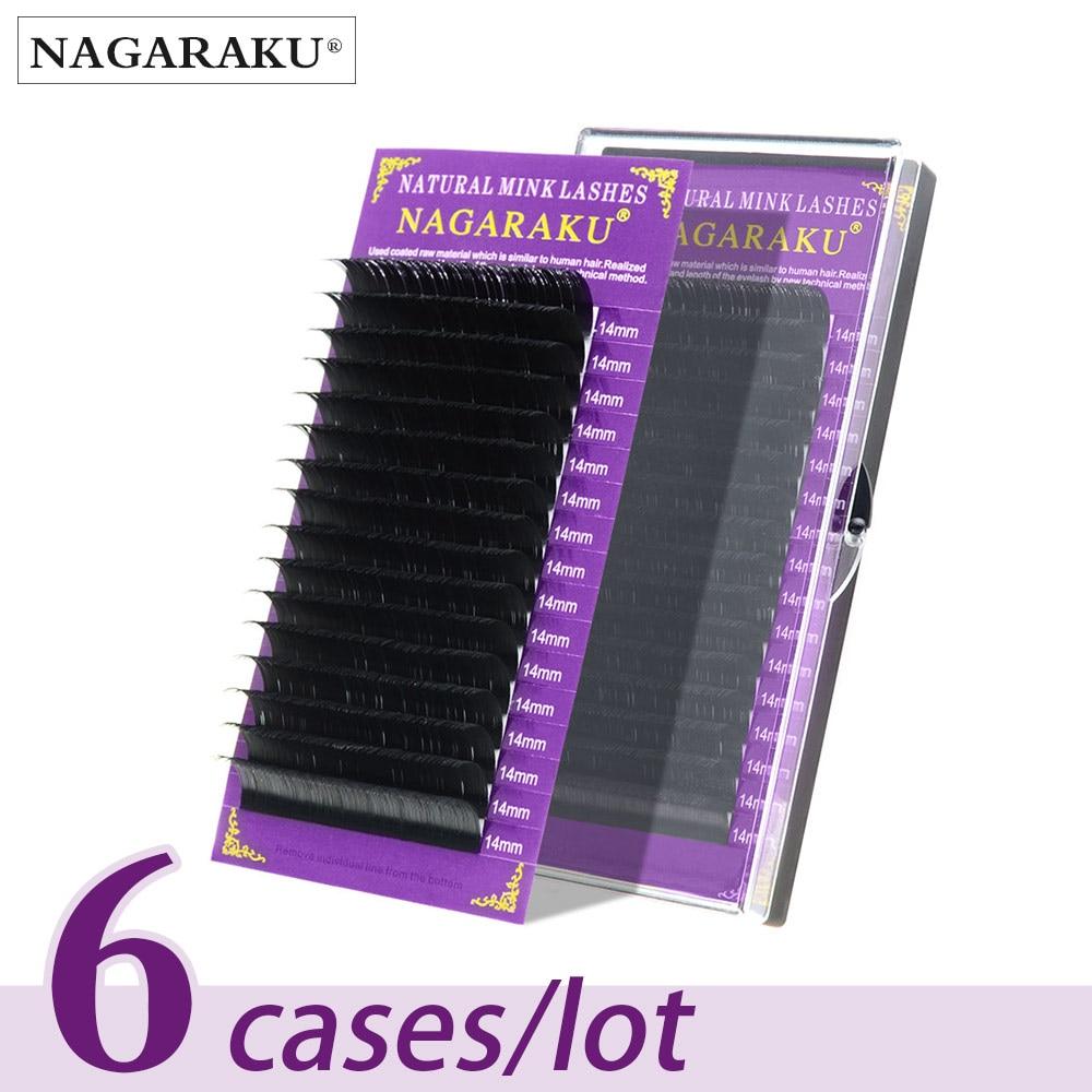 NAGARAKU All Size 6 Cases J B C D Curl Individual Eyelashes Faux Mink Eyelashes Extension Artificial Fake False Eyelashes 1