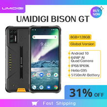 Umidigi bison gt ip68/ip69k impermeável áspero telefone 8gb + 128gb 33w carregador rápido 6.67