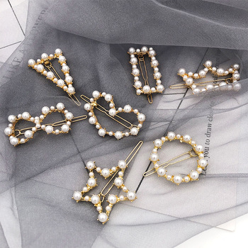 1PC Sweet Woman Pentagram Geometric Irregular Pearl Hairpins Girls Hair Accessories Delicate Hair Grip Ladies Barrettes Headwear