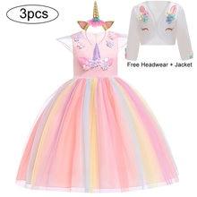 Vestido de festa de unicórnio para crianças, fantasia, traje de páscoa, vestido para meninas, vestido de princesa, vestido para meninas, arco-íris