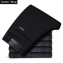 2019 Winter New Men's Warm Black Skinny Jeans Classic Style