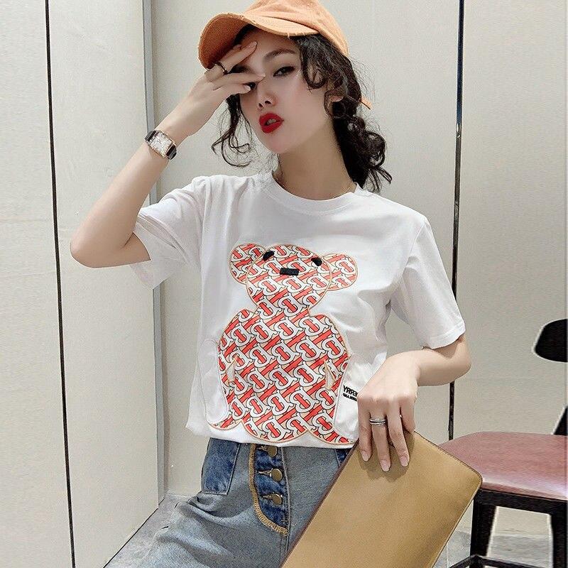 Новинка 2021, модная роскошная женская футболка с надписью, летние женские пуловеры, высококачественные брендовые футболки с круглым вырезом...