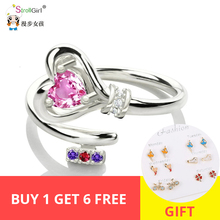 StrollGirl 100%925 sterling silver personalized open key my heart ring with birthstone unique fashion jewelry Mother's Day gift