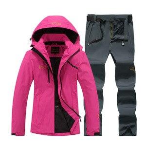 Image 4 - Traje de nieve para snowboard, ropa deportiva para exteriores de invierno, chaquetas de esquí impermeables a prueba de viento + Pantalones con cinturón de nieve, chaleco de snowboard