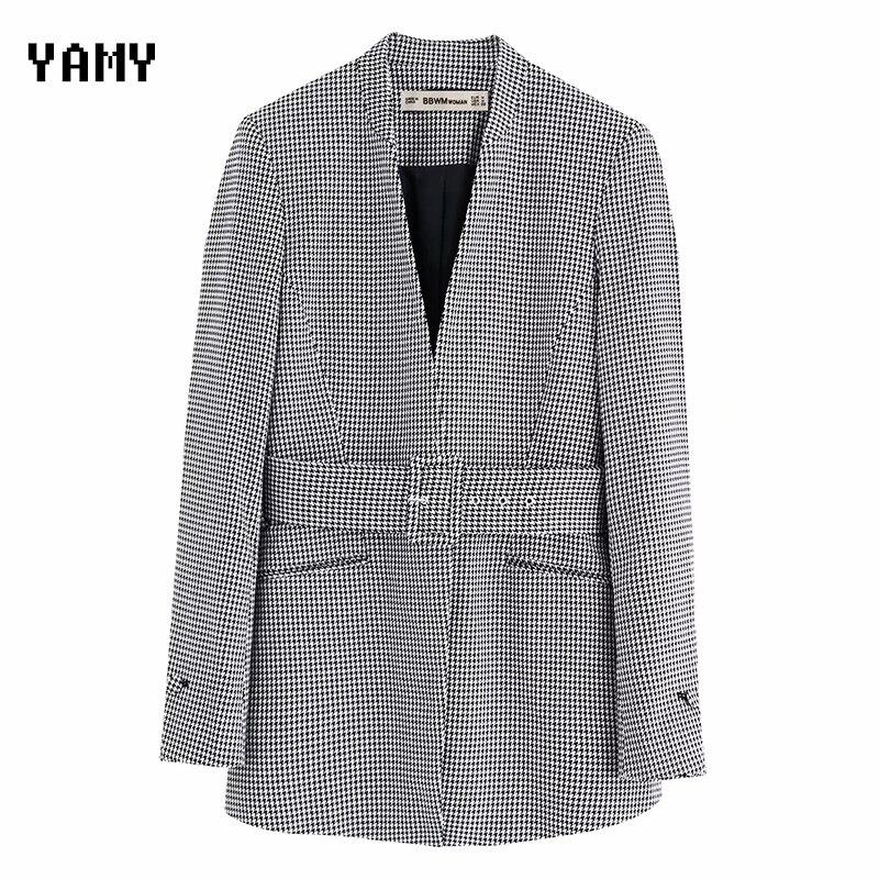 Zora Vicky Womens Houndstooth Blazer Mujer Long Sleeve Autumn Casual Buckle Blazer Jacket Office Lady Coat Za Blaser Feminino