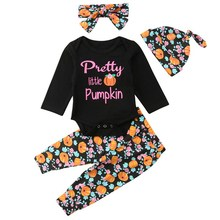 4pcs/set Children Set Cartoon Pattern Concise Sweet Cute All-match With Hat Long Sleeve T-shirt Long Pants Girl's Set