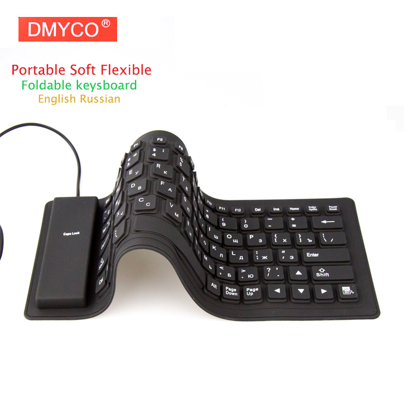 Portable USB Keyboard Russian Version Flexible Water Resistant Soft Silicone Mini Gaming Keyboard For Tablet Computer Laptop PC