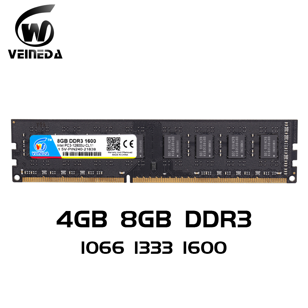 VEINEDA 2gb 4gb 8gb  Ram DDR3 Memory Ddr3 8 гб  Ddr 3 1333 For Desktop Compatible 1066 1600 PC DIMM Memory PC3-10600R 12800R