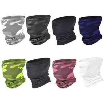 Unisex Summer Outdoor Ice Silk Neck Gaiter Scarf UPF50 Sunscreen Fishing Hiking Cooling Earloops Face Mask Camo Bandana - discount item  25% OFF Scarves & Wraps