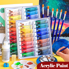 Professional Acrylic Paints Art Set 12/18/24/36 Colors 12ml Tubes Artist Drawing Painting Pigment Hand Painted Wall Paint DIY