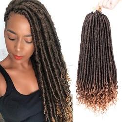 Kong&Li Goddess Faux Locs Crochet Hair Soft End Natural Synthetic Crochet Braids Brown For Women Locks 16-20 inch 24 Strands/pcs