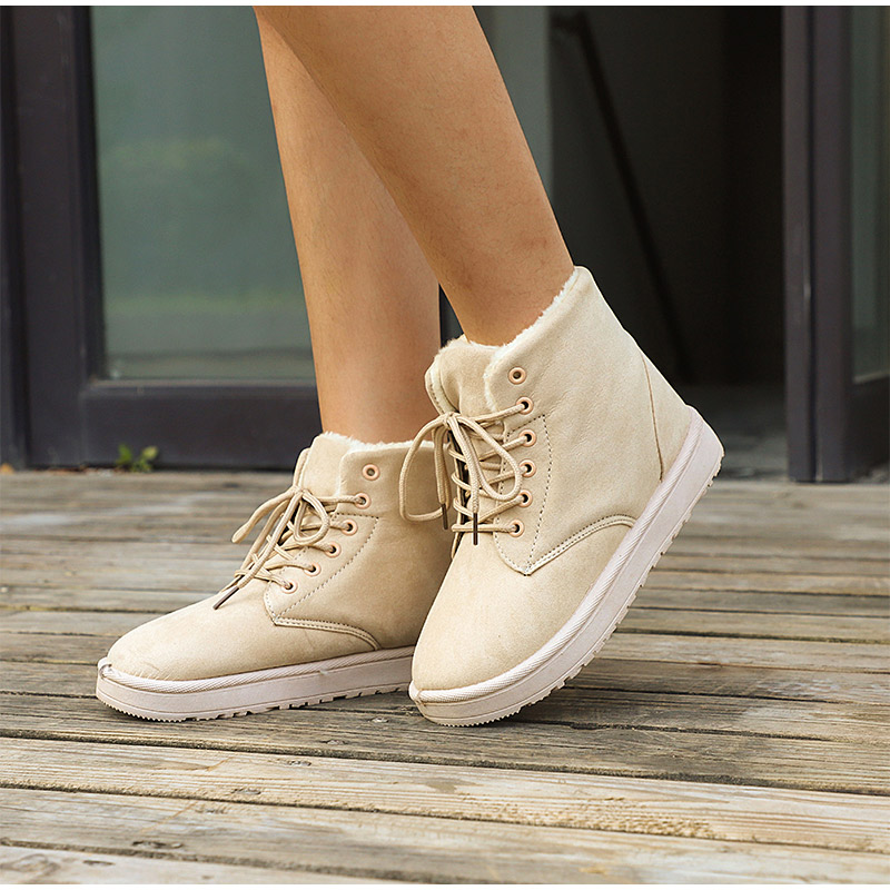 Women Flock Fur Flat Lace Up Winter Snow Suede Ankle Boots Female 35