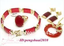 Free Shipping>>>Retro Red JADE 18KGP Women Ring Bracelets Studs Earrings Pendant Necklace Set(China)