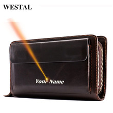 WESTAL cartera de cuero genuino con grabado láser para hombre, billetera con grabado láser, para monedas y teléfono, billetera larga para tarjetas, para dinero