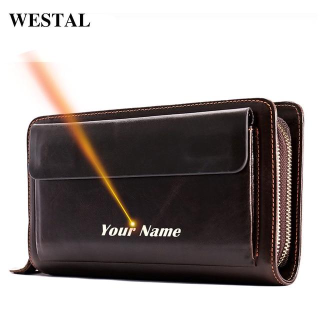 WESTAL לייזר חקוק מצמד זכר עור אמיתי גברים של ארנק ארנק לגברים מטבע/טלפון ארנקים ארוכים ארנק עבור כרטיסי כסף שקיות