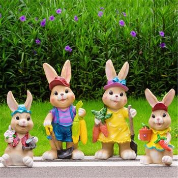 Simulation Animal Cartoon Rabbit Garden decoration Resin Statue Action Figure Collectible Model Toy Q1120