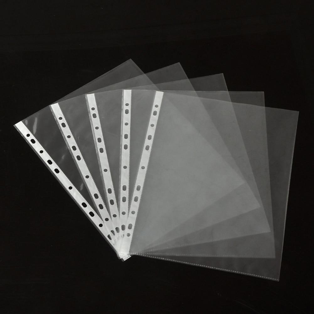 100Pcs A4 Plastic Punched Pockets Folders Filing 11 Holes Loose Leaf Documents Sheet Protectors Transparent Folder Bag