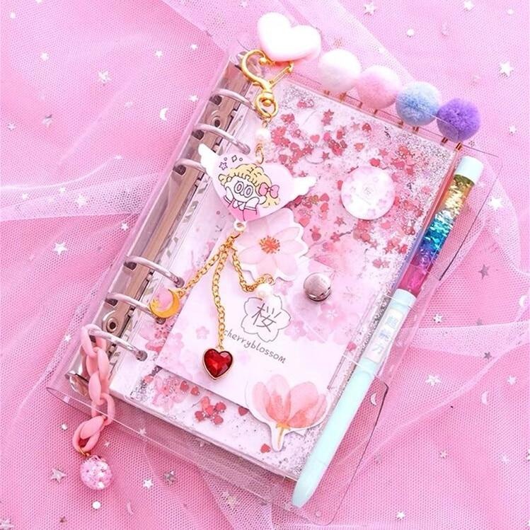 Kawaii Sparkly Cherry Blossoms Notebook 1