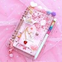 Sharkbang-Cuaderno Kawaii de hojas sueltas, cuaderno con hojas ostentosas, flores de cerezo A6, Agenda, Agenda, 2021 hojas, 160