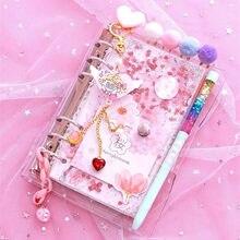 2021 Sharkbang Kawaii Bling Bling wiśniowe kwiaty A6 luźny liść pamiętnik dziennik zeszyt Agenda Planner 160 arkusz
