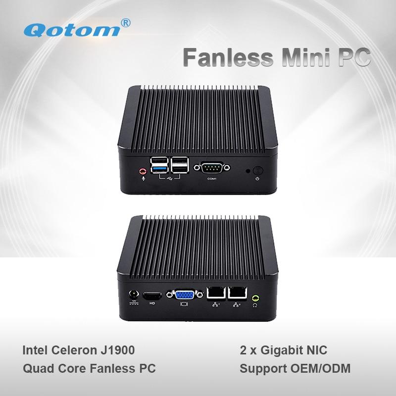 Qotom Mini PC Q190S Celeron J1900 Quad Core Dual Ethernet Gigabit NIC LAN Ports Fanless Micro Industrial Computer