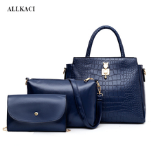 New Women Bags Set 3Pcs PU Leather Handbag Large Tote Ladies Shoulder Bag Famale Handbag+Messenger Bag+Purse Sac A Main5051