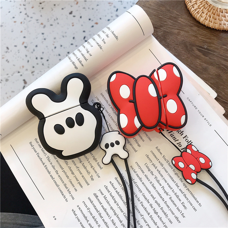 For AirPod 2 Case 3D Bowknot Scissors Hand Girl Cartoon Soft Silicone Earphone Cases For Apple Airpods Case Cute Cover Funda