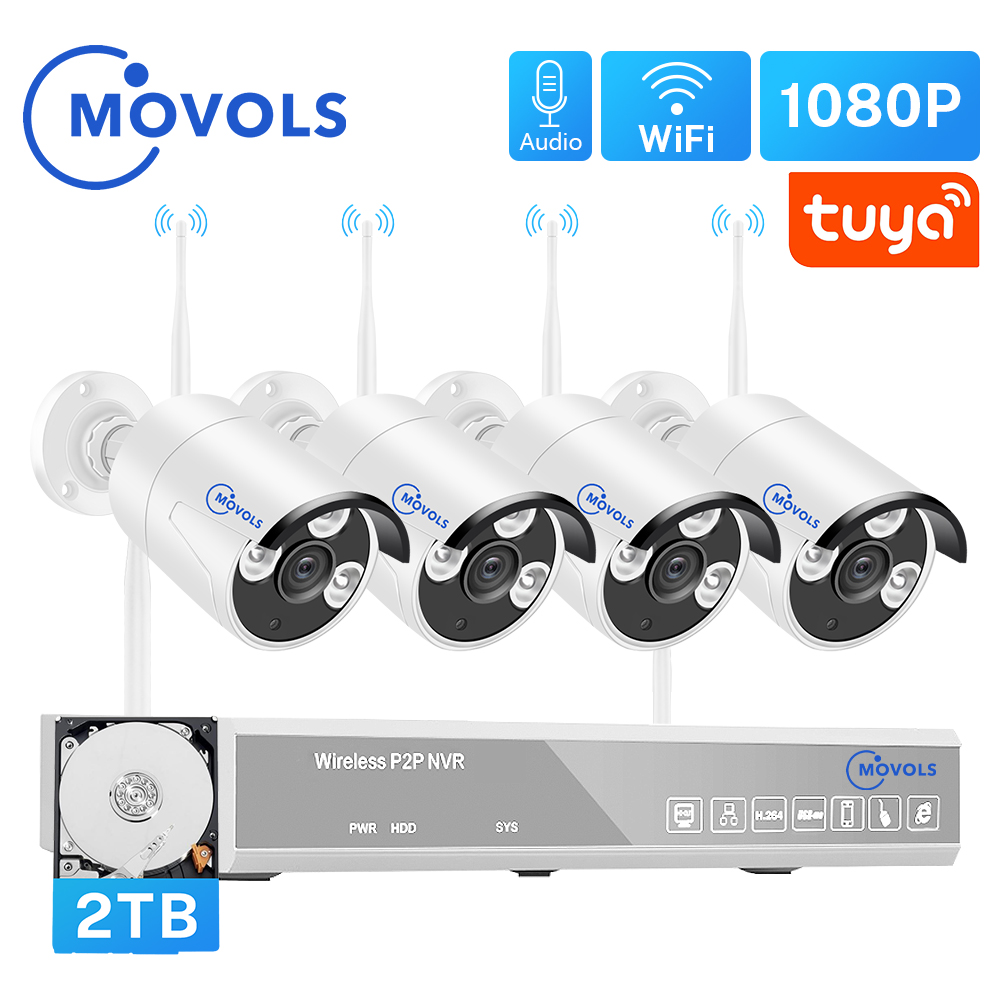 MOVOLS H 265 Wireless CCTV System 4CH 1080P Tuya Zigbee NVR 4PCS 2MP Outdoor WIFI Security Camera Audio Video Surveillance Kit