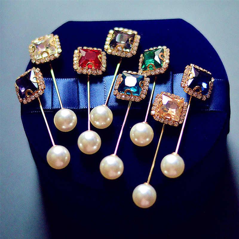 1PC New Vintage Oro Spilla Spilli Doppia Testa di Simulazione di Perle di Grandi Dimensioni Grandi Spille Per Le Donne Monili di Cerimonia Nuziale Accessori