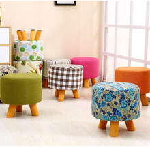 Small Stool Shoe Changing Stool Fabric Small Round Stool Solid Wood Short Stool Trying on Shoes Stool Four-legged Round Bench