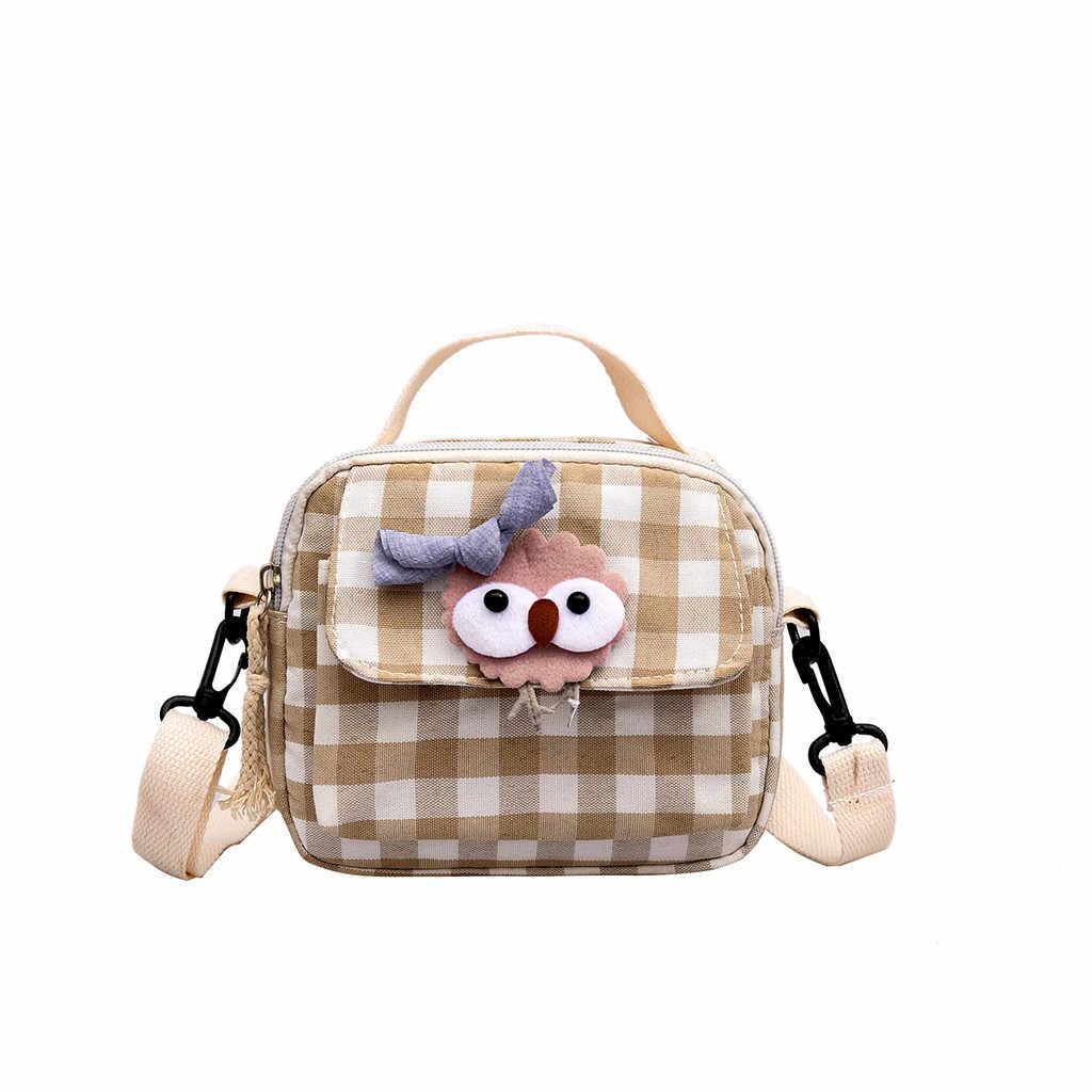 Cartoon gros yeux femmes sac nouvelle mode toile sac Plaid sauvage sacs à main et sacs à main accessoires pochette bolsas feminina livraison directe