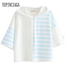 YUPINCIAGA Harajuku Japan Style Sweet Loose Stitching Striped tshirt Pullover Wo