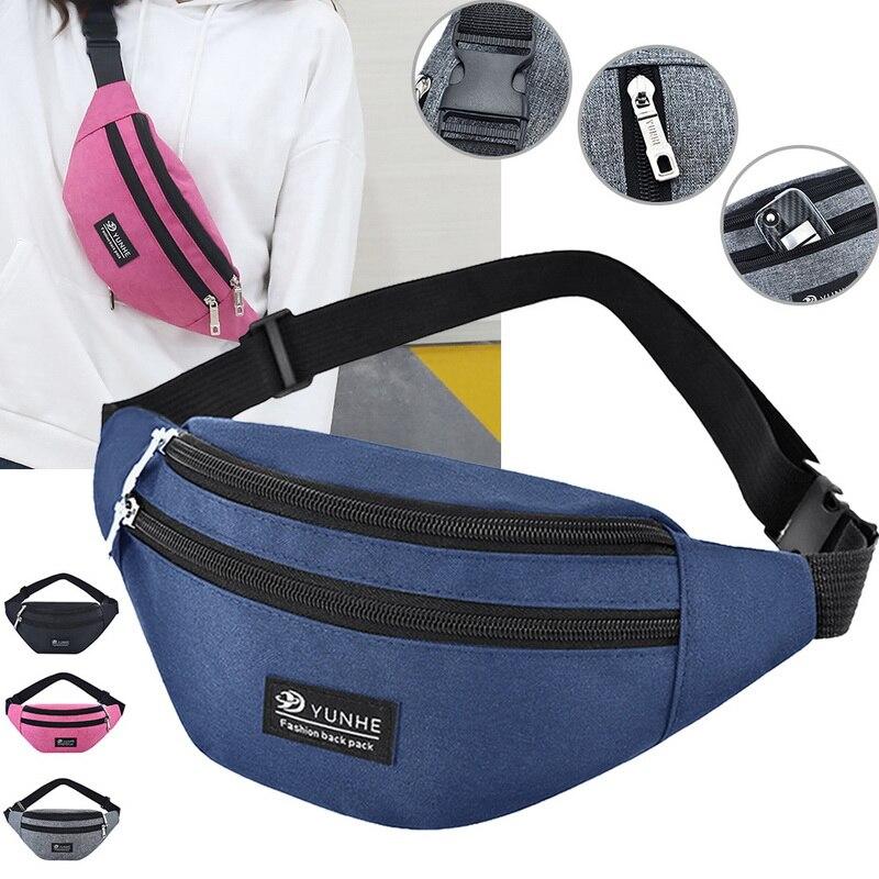 Waist Bag Women Three Zipper Pocket Fashion Men Chest Handbag Unisex Fanny Pack Ladies Pink Waist Pack Belly Bags Purse 1